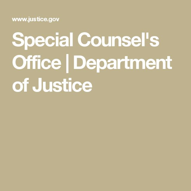 Special Counsel's Office | Department of Justice