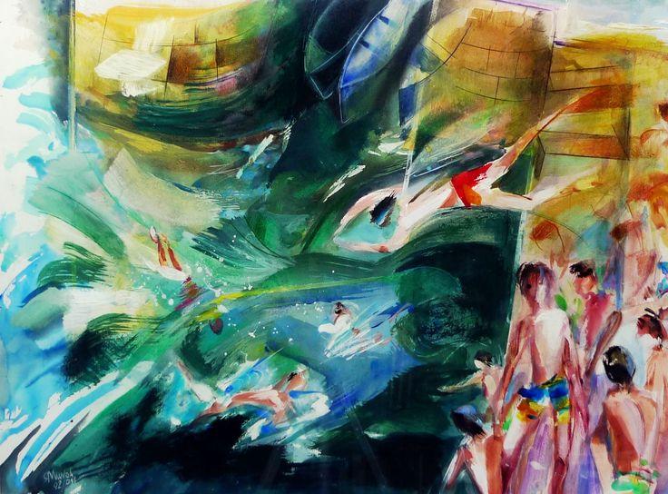 """Boys in San Sebastian port diving for a coin , watercolor by Rafael Munoa. Niños en el puerto buceando por una moneda (""""Perra al agua""""), por Rafael Munoa, acuarela."""
