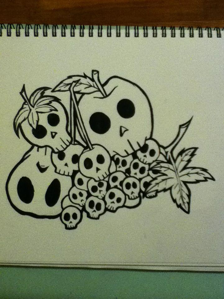 Skull fruit. Ink. Kinda cute, possibly would make a nice tattoo.