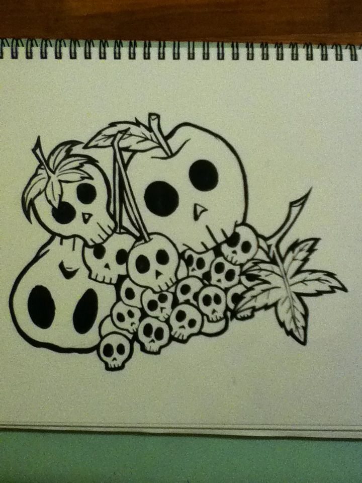 Skull fruit. Ink. Kinda cute, possibly would make a nice tattoo.
