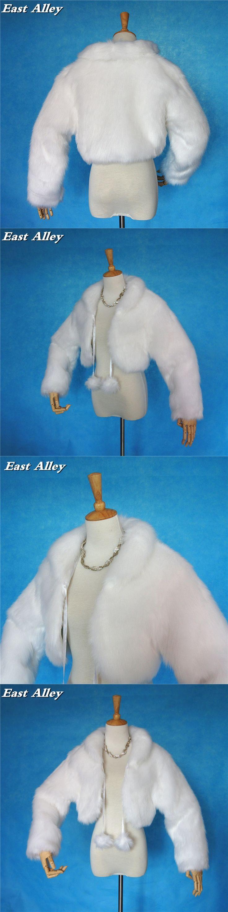 Winter Outdoor Women's Jacket Wedding Coat Long Sleeves Faux Fur Wrap Shrug Bolero Shawl in Ivory and White
