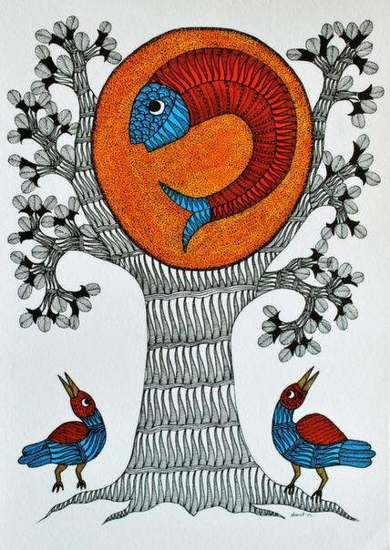 Gond tribal wall art - Tree of life with fish and birds #painting online at…