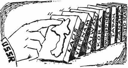 Domino Theory: the theory that a political event in one country will cause similar events in neighboring countries, like a falling domino causing an entire row of upended dominoes to fall.