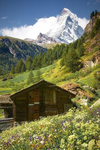 Iconic Matterhorn seen from a mountain hut in Zermatt, Switzerland (by Ayush Bhandari).