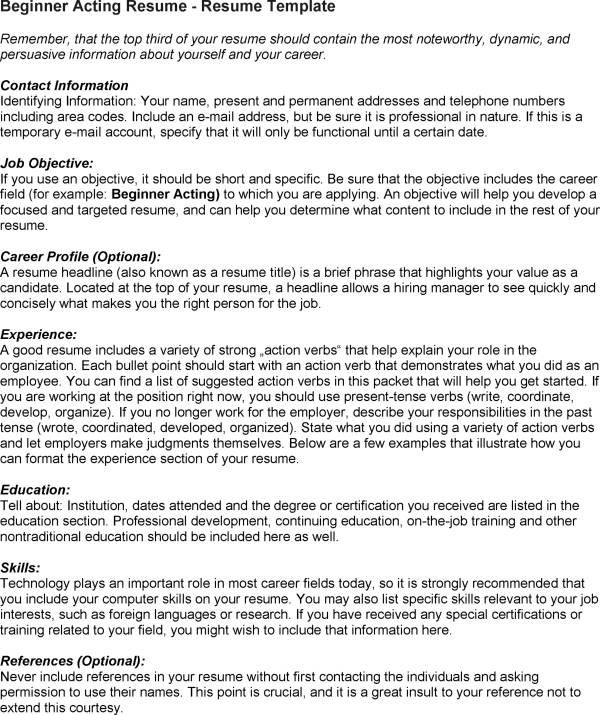 acting resume for beginner httpwwwresumecareerinfoacting resume for beginner 6 resume career termplate free pinterest - Resume Without Dates