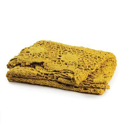 130x180cm Crochet Throw Saffron