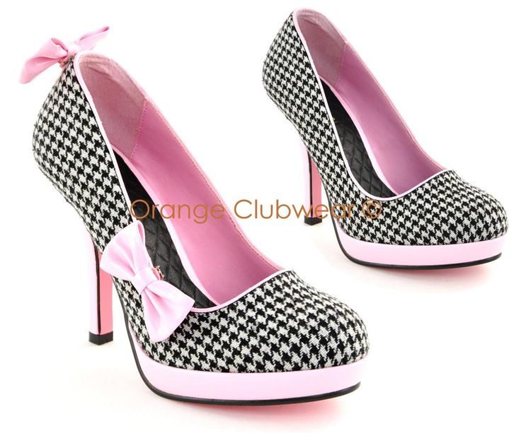 Pinup Womens Retro Fashion Houndstooth Bow Clip High Heels Rockabilly Pump Shoes | eBay
