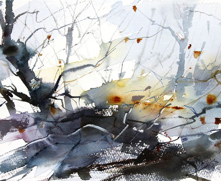Edge of the Wood, Expressive semi abstract landscape by Adrian Homersham SOLD http://adrianhomersham.co.uk/
