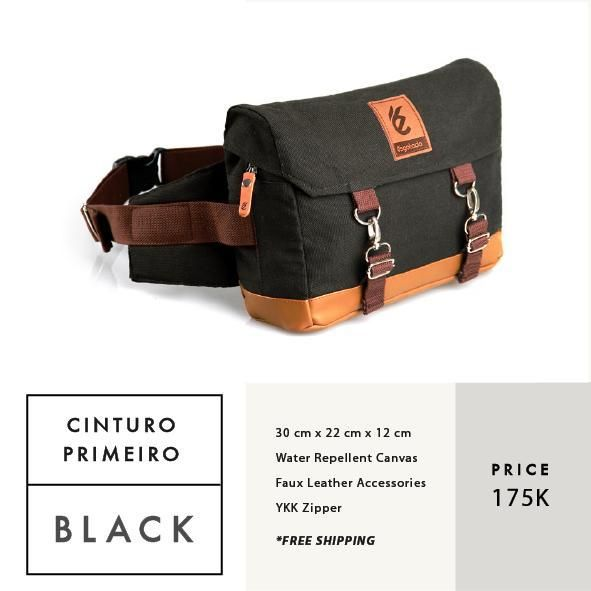 CINTURO PRIMEIRO BLACK  IDR 175.000  FREE SHIPPING ALL OVER INDONESIA    Dimension: 30 cm x 22 cm x 12 cm 8 Litre   Material: High Quality Canvas WR Faux Leather Accessories Leather Accessories YKK Zipper  #GoodChoiceforGoodLooking