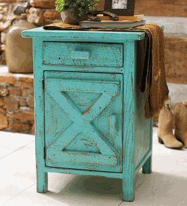 Barn Door Nightstand - Turquoise Distressed