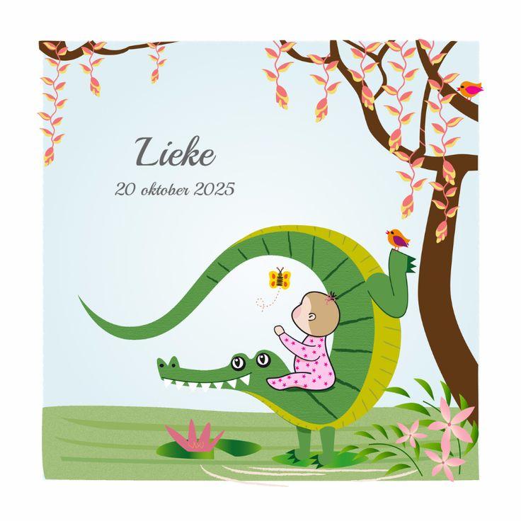 Stoer geboortekaartje van jullie kleine ontdekkingsreiziger, die samen met haar vriendinnetje de krokodil de wereld aan het verkennen is.