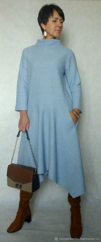 Купить или заказать Платье из шерстяного лодена ЗИМА В ГОРОДЕ в интернет магазине на Ярмарке Мастеров. С доставкой по России и СНГ. Материалы: шерстяной лоден, шерсть 100%, шерсть…. Размер: 44-46<br /> длина платья по спинке 110…