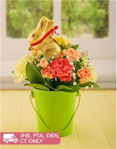 Easter - Flowers: Bright Easter Carnations in a Bucket!