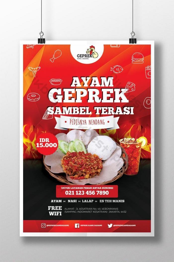 Poster Promosi Ayam Geprek Templat Psd Unduhan Gratis Pikbest Food Design Food Food Photo