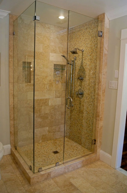 Clear glass shower stall with marble tile bathrooms pinterest mosaics contemporary Tile shower stalls
