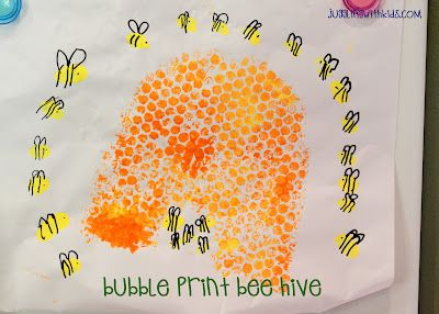 Bubble Wrap can be fun by itself...but here's another way to have fun with it.  Create a bubble print bee hive.