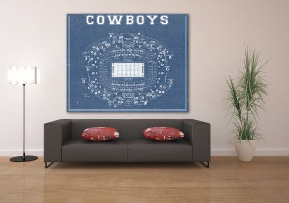 Print of Vintage Dallas Cowboys AT&T Stadium Seating Chart on Photo Photo, Matte Paper or CANVAS NFL Hanging Art Decor Giclee sports Diagram