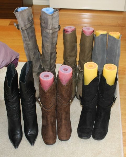 Keep boots in good condition and keep them from falling over by using pool noodles