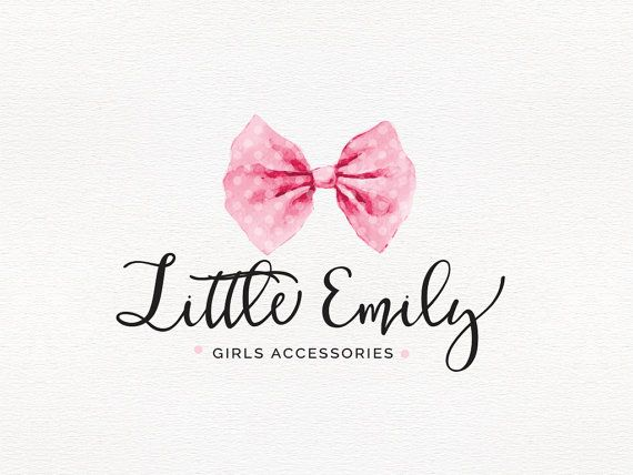 Watercolor Bow Logo , Hair Accessories Logo , Calligraphy Logo , Perfect For…