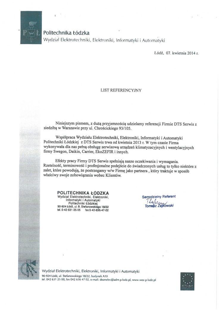 Referencje Politechnika Łódzka - Łódź