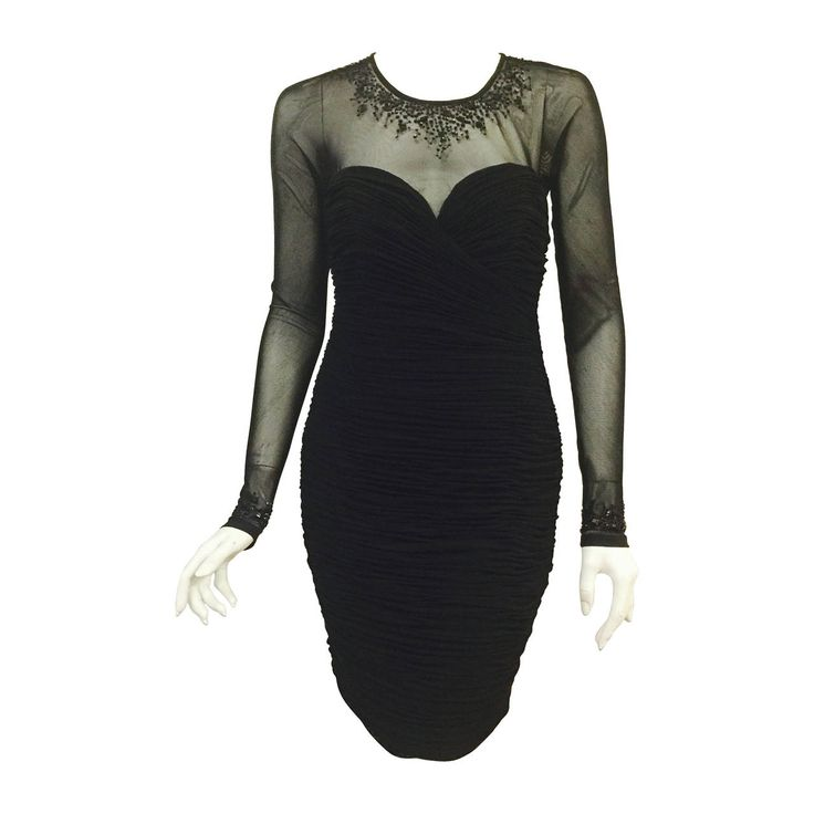 Vicky Tiel Long Sleeve Black Cocktail Dress With Shirred Body | 1stdibs.com