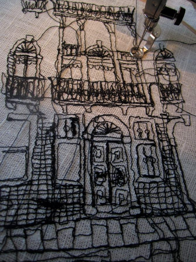 Textile Art Drawing With Stitch Embroidered Architecture Harriet Popham Textiles Embroi La Peinture Sur Fil Broderie Machine A Coudre Art De La Broderie