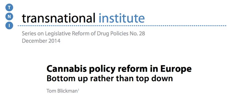 Series on Legislative Reform of Drug Policies No. 28 by transnational institute.   Cannabis policy reform in Europe Bottom up rather than top down Tom Blickman December 2014 http://www.tni.org/sites/www.tni.org/files/download/dlr28.pdf