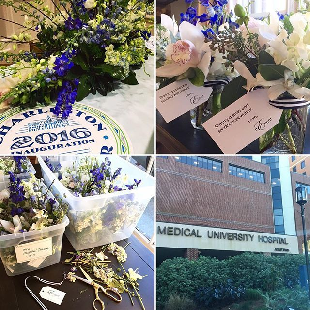 REPURPOSE - Flowers from Charleston's Mayoral Inauguration.  REARRANGE - 1 centerpiece in to 24 #bedsidebouquets  REDISTRIBUTE - next day delivery to 24 patients at MUSC hospital  REUSE. RECYCLE. RESHARE  #SociallyResponsibleCelebrations