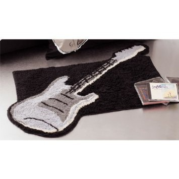 Guitar Shaped Black Rug Bath Mat Room Music Decor