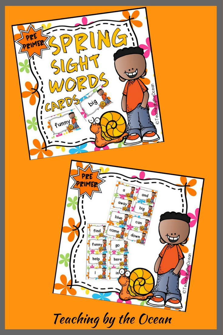 This is a PDF created with colourful spring backgrounds. There are 8 cards per page.  These cards can be used for whole group, small groups, literacy centers, word wall display, sight word drills, etc. Just print, laminate and cut. Hand them to the students to add to a binder ring.   The Sight Words included in the document are: - Pre-Primer Dolch Sight Words