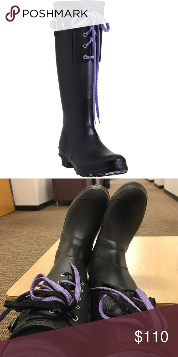 Barney's New York Co-Op Lace Up Rain Boot Tall matte black Wellie rain boots with purple and black double lace up detail. Boots hit just below the knee. Excellent condition overall with some minor scuffing on the bottom and minor wear and dirt but no stains or holes. Excellent quality rain boots. They say size 39 (9) but I wear size 8 and they fit with a bit of room, so I'd say they'd fit from size 8-9. Make an offter! 😊 (*NOTE* NOT Hunter boots, just used tag for exposure) Hunter Boots…