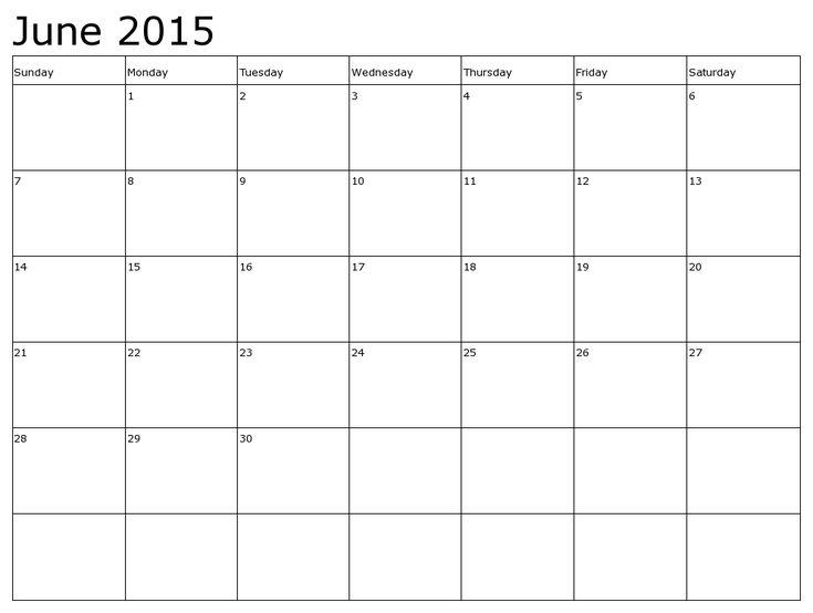 calendar templates june 2015