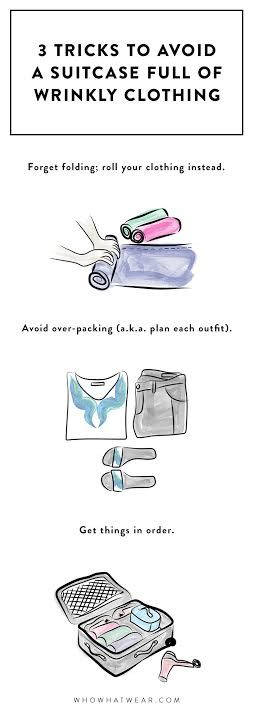3 tricks to avoid a suitcase full of wrinkled clothing.