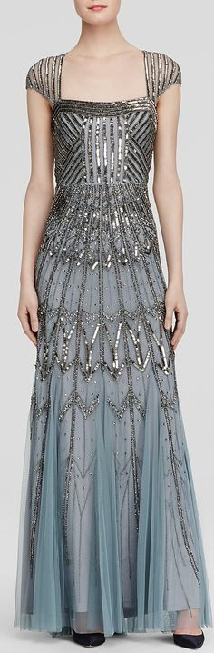 Adrianna Papell Gown - Square Neck Cap Sleeve Open Back Beaded - the ombre effect at the bottom is a lovely touch. The overall detail to the sequins and beads is phenomenol.