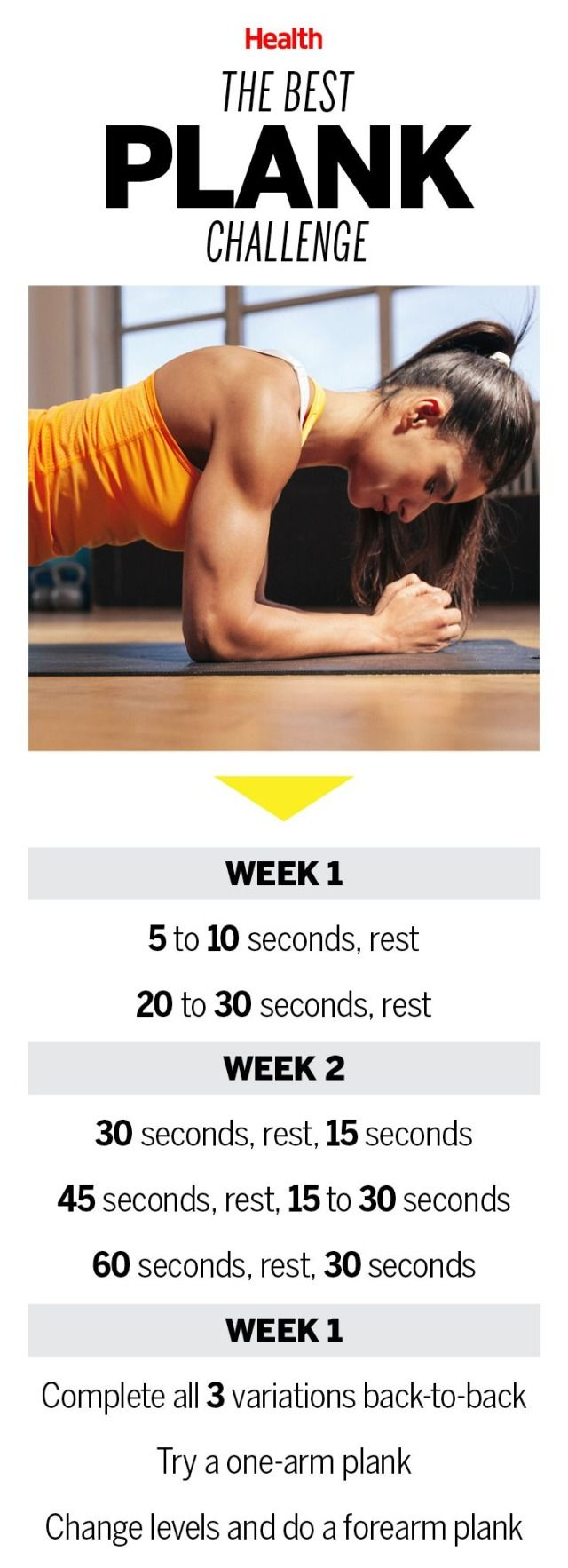 Tighten Your Core in 21 Days With This Plank Challenge: Take the classic strength move from short and static to minutes-long and dynamic with this three-week plan. | Health.com
