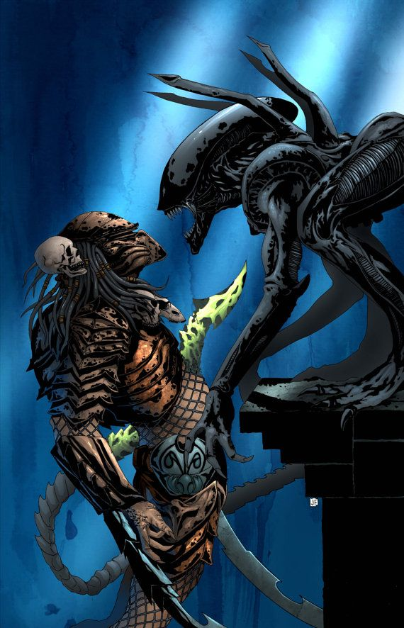 AVP - ALIEN vs PREDATOR - Art Print - Signed by Artist - Jason Flowers on Etsy, $10.00