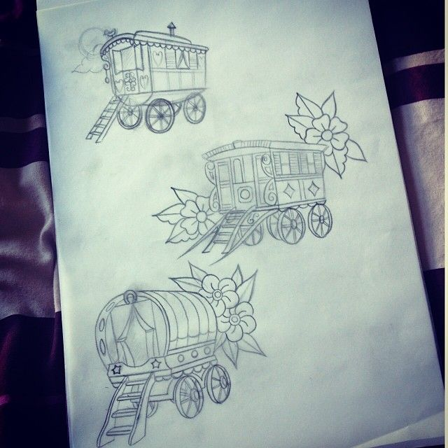 Obsessed with gypsy caravans. If I can't live in one I want one tattooed on me. @kevin_younger hint hint . #tattoo #tattoos #luckycattattoo #luckycattattooparlour #gypsy #gypsytattoo #gypsycaravan...