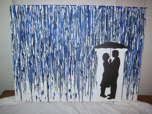 glue gun crayon art - couple standing in the rain