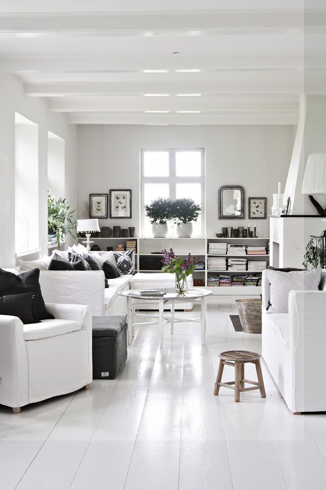 Calm white room with moroccan white table