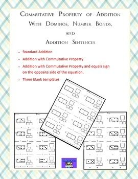 This set of worksheets includes Domino templates that students will use to create an addition sentence and a number bond. This is perfect for first grade and compatible with Engage New York curriculum.The templates included are:1) Standard addition with dominos and fill in the addition sentence and number bond.2) Commutative Property addition with dominos and fill in the addition sentence and number bond.3) Commutative Property addition with the equals sign on the opposite side, dominos and…