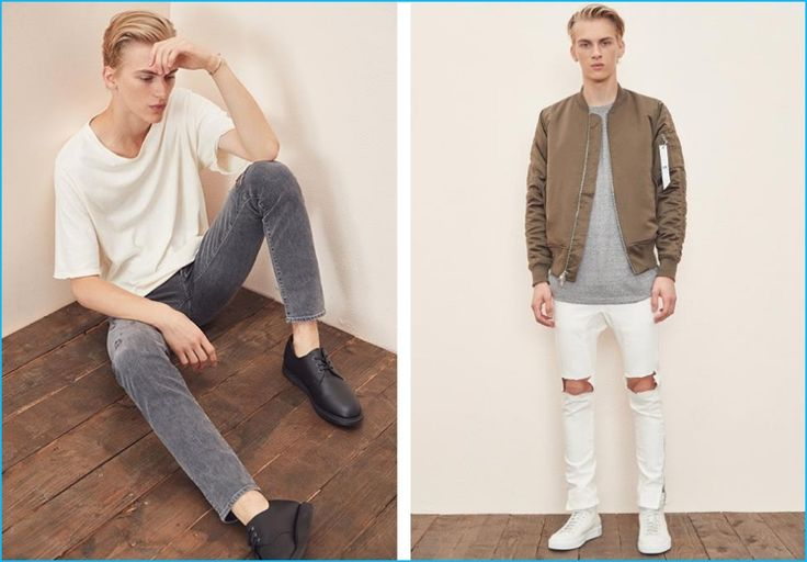Model Dominik Sadoch sports an IRO white t-shirt and Agolde grey distressed denim jeans with Dr Martens shoes. Pictured right, Dominik dons a t-shirt and leather high-top sneakers from John Elliott with a Stampd bomber jacket and white Daniel Patrick ripped denim jeans.