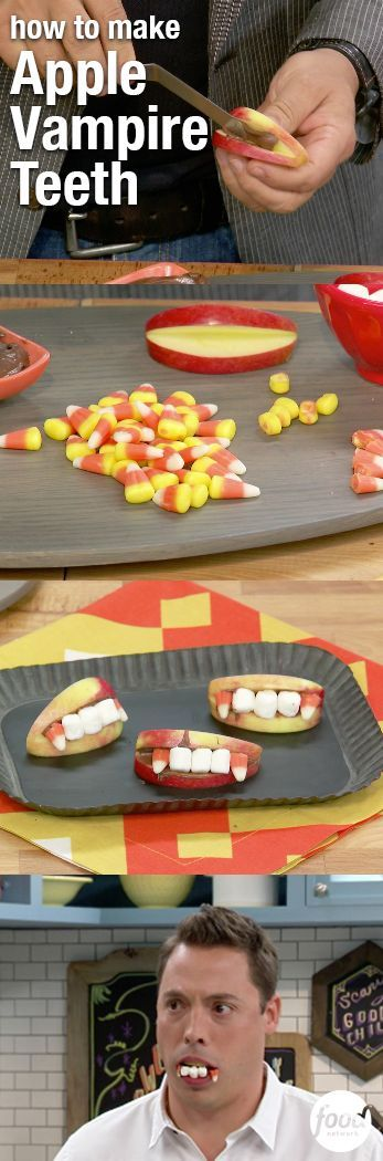 These Vampire Apple Teeth are an easy Halloween treat that also provide for a great photo op! Simply apply chocolate hazelnut spread to apple wedges (peanut butter and almond butter work too). Then stick on marshmallows and candy corn (with the tips cut off) for teeth. Try your scary new teeth on for size, then enjoy! Click through to see more creative ways to use Halloween candy!