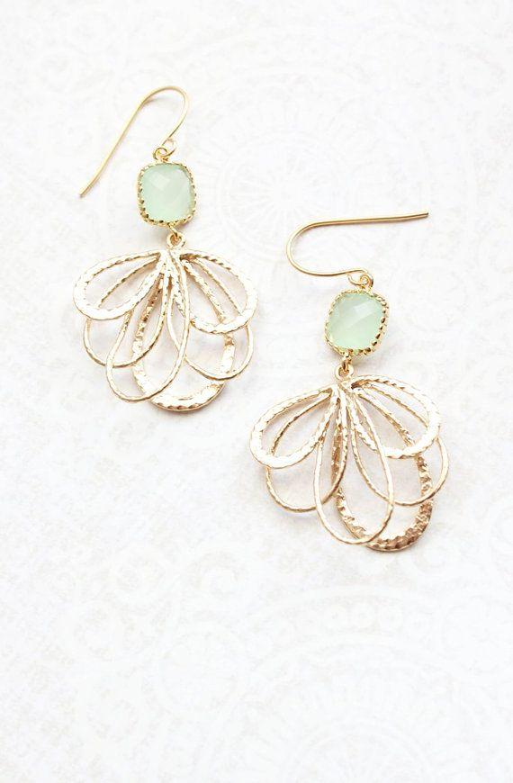 Mint Glass Earrings Modern Gold Dangle Fan Filigree Floral Earrings Pretty Feather Pale Light Green Bridesmaids Jewelry Gift for Girlfriend