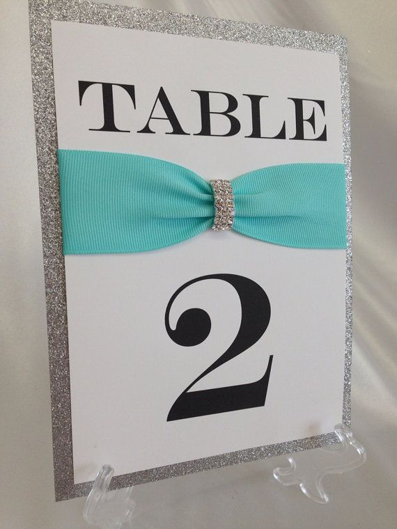 Tiffany Blue & Silver Rhinestone + Glitter Wedding Table Number- Rhinestone Brooch, Any Color Ribbon- Display Stand Included! on Etsy, $8.75
