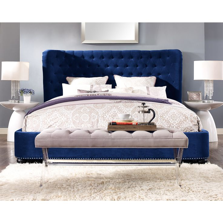 channel your inner royalty with this blue velvet bed elegance and contemporary come together on - Headboard Of Bed