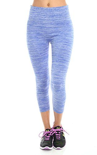 Womens Space Dye Athletic Sports Capri Leggings BLUE * See this great product.(This is an Amazon affiliate link and I receive a commission for the sales)