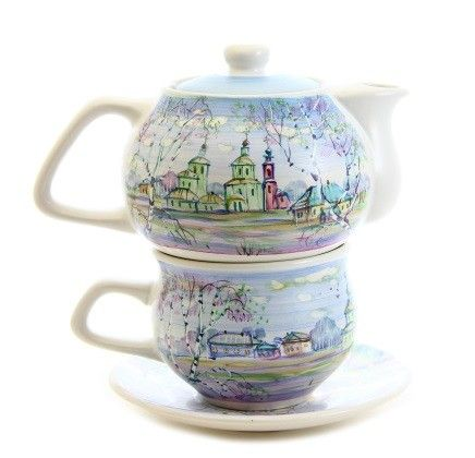 $35.00 Handpainted Pottery Tea Set - Visit our website for more information: http://catalog.obitel-minsk.com/ceramics-workshop - #CatalogOfGoodDeeds #teapot #pottery #ceramic #handmade #purchase #order #customize #flowers #deliver #worldwide #shipping #cup #plate #sugar bowl #unique #glaze #mugs #unique #tea set #handpainted #purchase #buy #gift #souvenir #present #online #crafts #tea #overglaze #quality