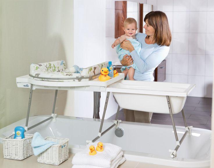 Table à langer et baignoire bébé - deux-en-un !  Combiné baignoire et table à langer Aqualino avec matelas de Geuther.