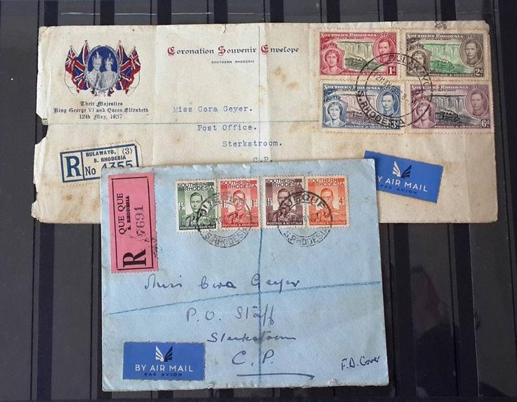 southern rhodesia letter set 1937 bulawayo que que cover registered coronation - O Que Cover Letter
