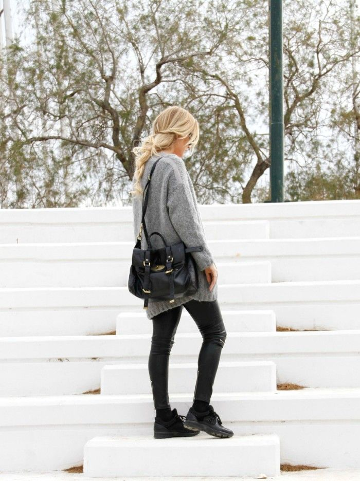 #grey #streetstyle #braid #josieswall #chanel #mulberry #sneakers #leatherpants #inspo Josieswall.com